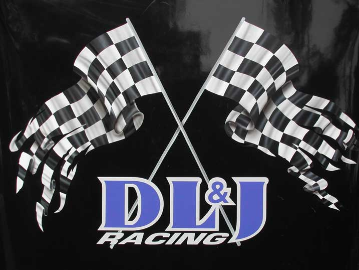 checkered flags on hood
